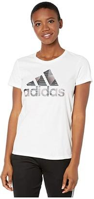 adidas Universal Badge Of Sport Tee (White) Women's Clothing