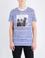 Blood Brother Striped graphic-print cotton-jersey t-shirt