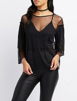 Charlotte Russe Tiered Ruffle Sleeve Mesh Top