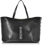 Jimmy Choo Pimlico Rock Black Leather Tote Bag with Punk Studs