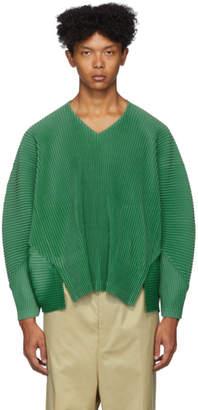 Issey Miyake Homme Plisse Green Pleated V-Neck Long Sleeve T-Shirt