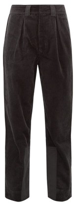 Ganni Mid-rise Cotton-corduroy Trousers - Womens - Dark Grey