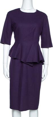 Carolina Herrera Purple Wool Peplum Dress L