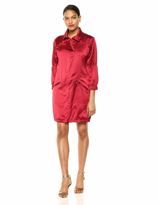 Halston Women's Long Sleeve Tape Detail Belted Shirt Dress