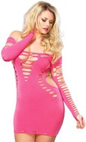 Leg Avenue Women's Plus Size Seamless Shredded Mini Dress with Cut Out Side Detail
