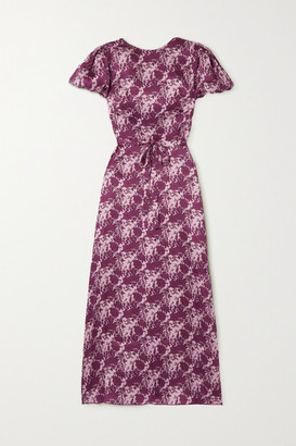 The Vampire's Wife Belted Floral-print Silk-satin Maxi Dress - Magenta