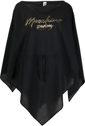 Moschino Logo-Print Poncho Cover-Up