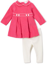 Red Pleated A-Line Dress & Off-White Leggings - Infant