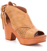 Free People Revolver Leather Perforated Peep Toe Ankle Tie Clogs