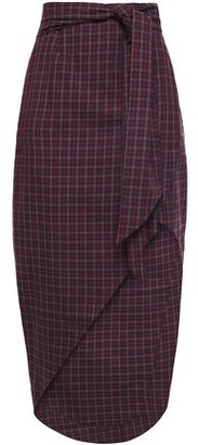 Paper London Salvadore Asymmetric Wrap-effect Gingham Twill Skirt