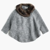 J.Crew Girls' merino wool poncho with faux-fur collar