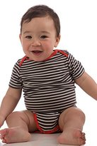 Yala® OBS530 Graphite / Natural Extra Small (0-3 Months) Short Sleeve BambooDreams Baby Onesie with Solid Mandarin Trim