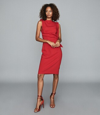 Reiss Robyn - Ruffle Detail Bodycon Dress in Red