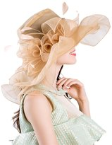 Harmony Life Women Foldable Organza Church Derby Hat Ruffles Wide Brim Summer Bridal Cap for Wedding Tea Party Beach