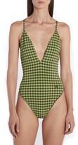 Fendi Gingham One-Piece Swimsuit