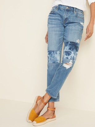 Old Navy Mid-Rise Boyfriend Straight Rip-and-Repair Jeans for Women