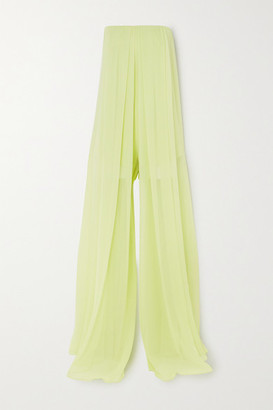 Cushnie Strapless Silk-chiffon Jumpsuit - Light green
