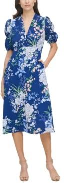 Vince Camuto Plus Size Floral-Print Midi Dress