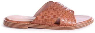 Linzi HARLEM - Tan Slip On Slider With Woven Crossover Front Strap
