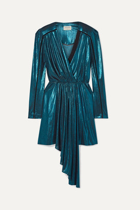 Zeus+Dione - Lysia Wrap-effect Draped Stretch-lame And Silk-crepe Mini Dress - Turquoise