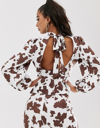 House Of Stars backless top in cow print with tie detail and cut out co-ord-White