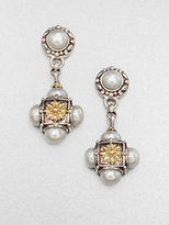 Konstantino Cultured Pearl, Sterling Silver and 18K Yellow Gold Drop Earrings