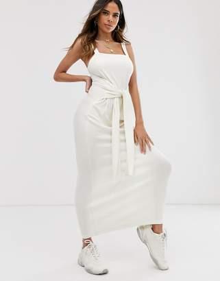 Asos Design DESIGN tie waist rib maxi dress-White