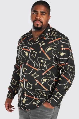 boohoo Mens Black Big And Tall Long Sleeve Chain Print Shirt, Black
