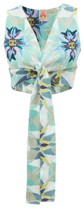 Le Sirenuse, Positano - Sonia Cropped Diamond-print Cotton Top - Blue Print