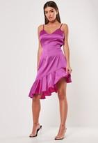 Missguided Purple Asymmetric Frill Hem Cami Dress