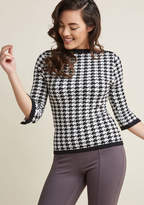 Banned Up to Parisienne Sweater in Houndstooth in L - Long Pullover Waist by Banned from ModCloth