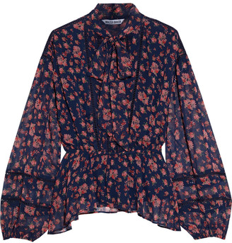 W118 By Walter Baker Danica Pussy-bow Floral-print Chiffon Peplum Blouse