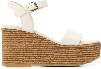 Brunello Cucinelli Wedge Heel Ankle Strap Sandals