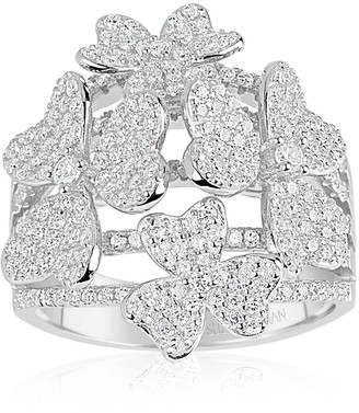 Suzy Levian Sterling Silver CZ Multi Flower Ring