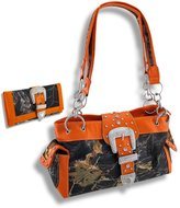 Things2Die4 Camouflage Rhinestone Western Buckle Purse/Wallet Set (Orange)