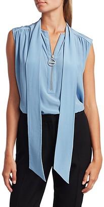 Givenchy Sleeveless Tieneck Silk Top