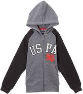 U.S. Polo Assn. Medium Heather Gray 'USPA' Zip-Up Raglan Hoodie - Boys