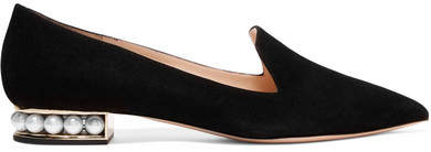 Nicholas Kirkwood Casati Embellished Suede Loafers - Black