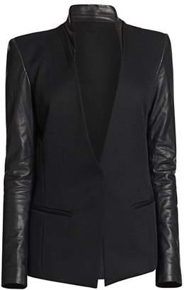 Helmut Lang Crux Leather-Sleeved Wool Blazer