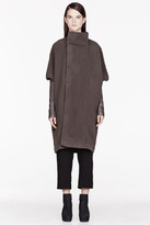 Rick Owens Grey Fleece & Leather Dolman Biker coat