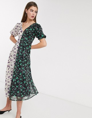 Lost Ink midi tea dress with back detail in mixed floral prints