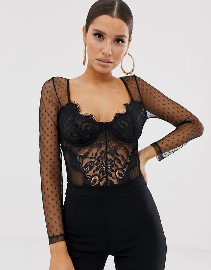 315ac21869e Black Lace Long Sleeve Top - ShopStyle Australia