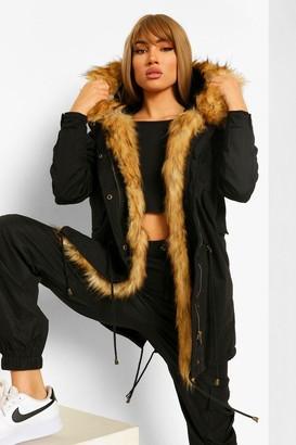 boohoo Boutique Faux Fur Trim Parka