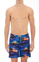 Sundek MEN'S HAWAIIAN-PRINT SWIM TRUNKS