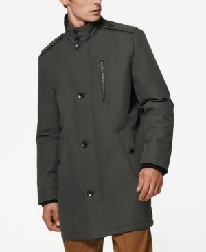 Andrew Marc Cullen Oxford Men's Twill Military Inspired Style Coat with Rib Detail