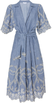 Luisa Beccaria Cotton Embroidered Chemisier with Sache