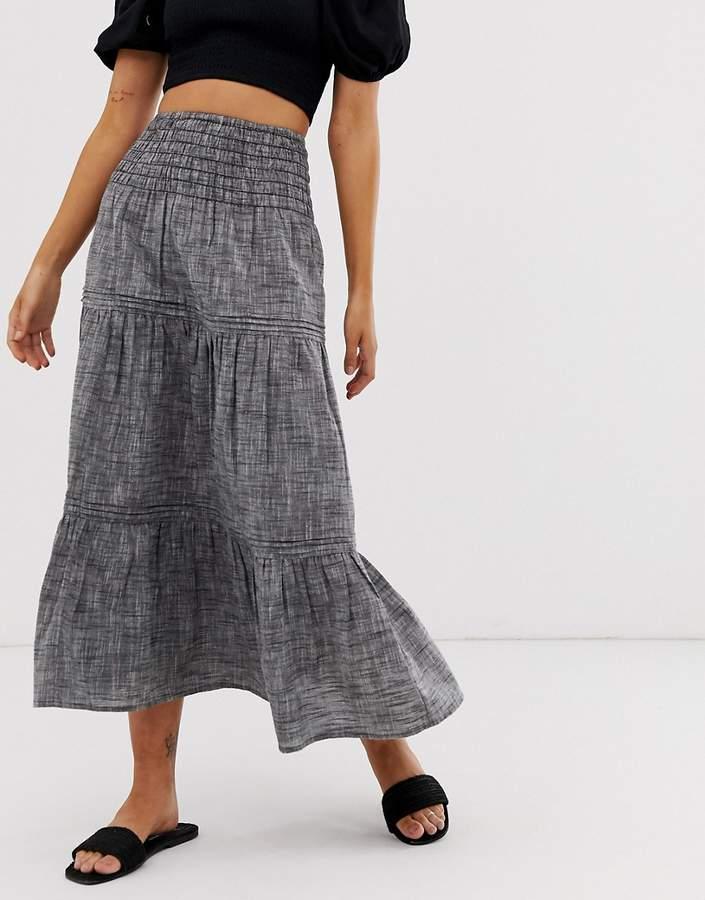 Asos Design DESIGN grey chambray tiered midi skirt