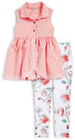 Calvin Klein Girls 2-6x Little Girls Scalloped Tunic and Floral Leggings Set