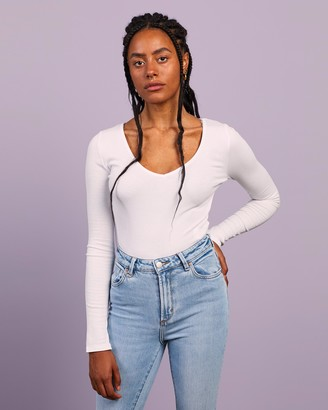 Missguided Women's White Bodysuits - V Neck Ribbed Bodysuit - Size 8 at The Iconic