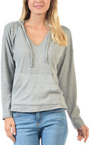 Magic Fit Heather Gray Ribbed V-Neck Hoodie